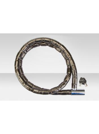 Велосипедный трос-замок 81201 с ключом со стальными звеньями 22x1500мм чёрно-серебр