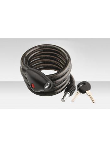 Велосипедный трос-замок 87305+HL032 дл. 1800 мм, диам. 12 мм, с крепл., чёрный