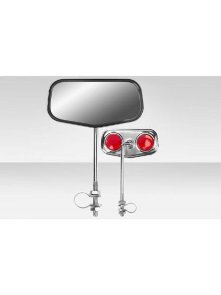 Зеркала заднего вида FCR-S99B, со световозвращателями, сталь, хром, правое и левое
