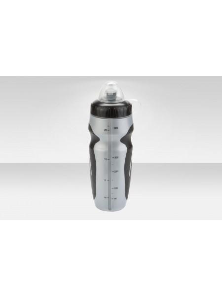 Фляга CB-15027W 600мл со шкалой полиэтилен. чёрно-серебристая