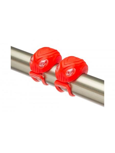 Фонари декоративные Stels JY-267-18, передний с 2 белыми, задний с 2 красными светодиодами, зеленые