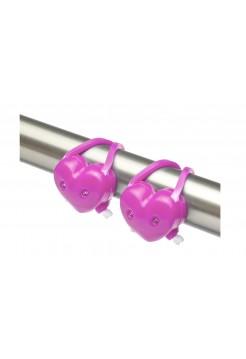 Фонари декоративные Stels JY-339B, передний с 2 белыми, задний с 2 красными светодиодами, розовые