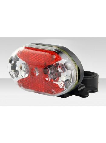 Фонарь Stels задний JY-500T 9 светодиодов 3 режима прозрачно-красно-чёрный