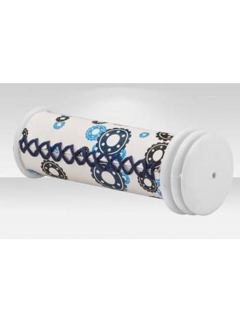 Грипсы велосипедные VLG-200-1  105 мм прошитые бело-черно-синие