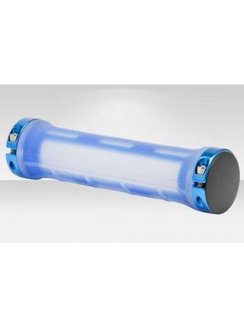 Грипсы XH-G89BL 130 мм с кольцами алюм. прозрачно-синие в инд. упаковке