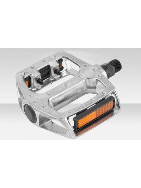 Педали велосипедные BLF-B7 алюминиевые серебристые 9/16 со светоотраж.