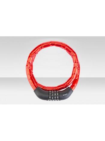 Велосипедный трос-замок 81601 с шифром, со стальными звеньями, 18x1000 мм, красный