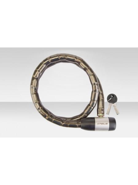 Велосипедный трос-замок 81715 с ключом со стальн. звеньями 18x1000мм чёрно-серебр.