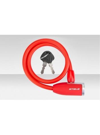 Велосипедный трос-замок 84356 с ключом, со стальным тросом, 10х650 мм, красный