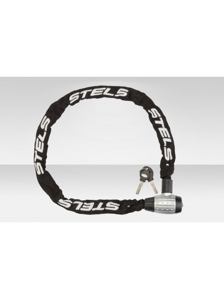 Велосипедная Цепь-замок 85704 в тканевой оплётке, с ключом, 6х1200мм серебристо-чёрный