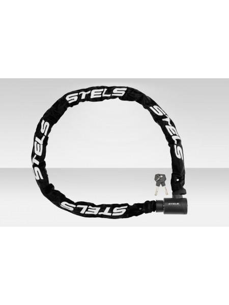 Велосипедная Цепь-замок 85803 в тканевой оплётке, с ключом, 6х1200 мм, чёрный