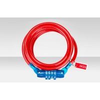 Велосипедный трос-замок GK102.702 с шифром со стальным тросом 6x1500мм красно-синий